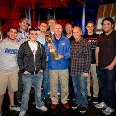 Some of the Ferro Crew and Coach Tom Coughlin with the Super Bowl XVLI Trophy the week after the big win