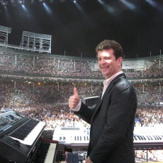 Billy Joel's Keyboardist and a close friend of Ferro, Dave Rosenthal on stage of Billy Joel concert at Wrigley Field