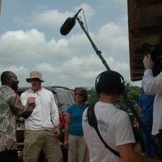 Camera OpJamie Kiley and Audio Engineer Nick Giangrande covering NYG Punter Steve Weatherford around Africa