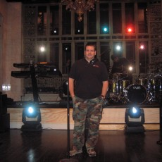 Audio Engineer (A2) Mike Fortunato on the set of SNL