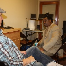 "President/Executive Producer Joe sits with Funk Bass legend Robert ""Kool"" Bell in pre-show meeting."