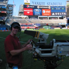 Camera Op Rick Cypher shooting network cam at Yankee Stadium